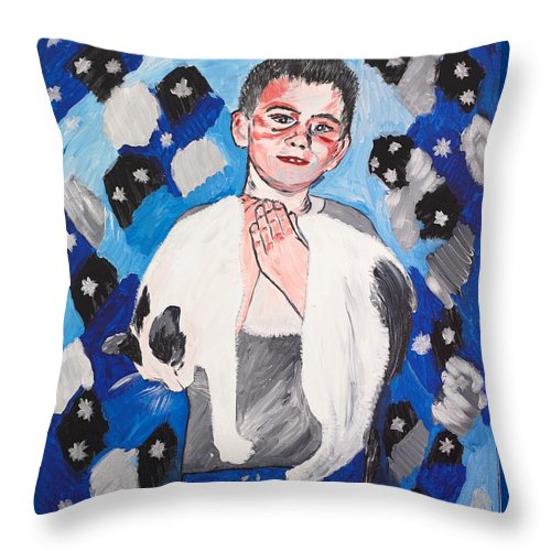 Portrait Throw Pillow featuring the painting Max Holding Snowflake by Valerie Ornstein