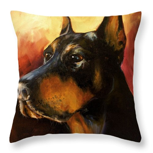 Doberman Dog Throw Pillow featuring the painting MAX by Michael Lang