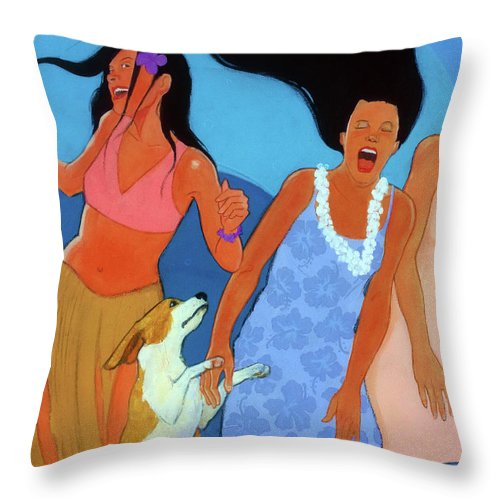 Hawiian Throw Pillow featuring the painting May I Cut In by Naro Naro
