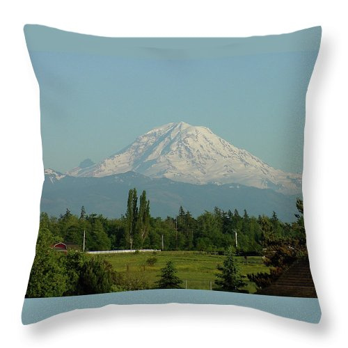 Mountain Throw Pillow featuring the photograph May Mt. Rainier by Shirley Heyn