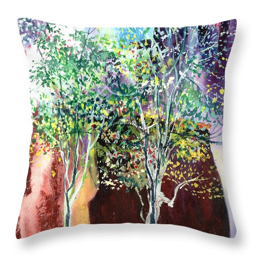 Nature Throw Pillow featuring the painting Maya by Anil Nene