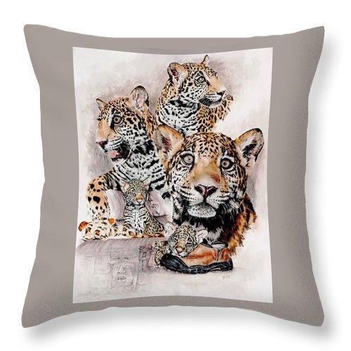 Jaguar Throw Pillow featuring the mixed media Maya by Barbara Keith