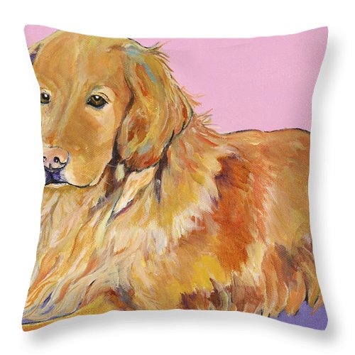 Golden Retriever Throw Pillow featuring the painting Maya by Pat Saunders-White