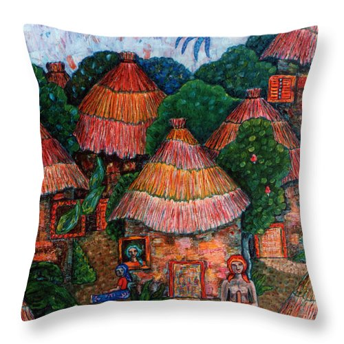 Africa Throw Pillow featuring the painting Maybe That Was My Country by Madalena Lobao-Tello