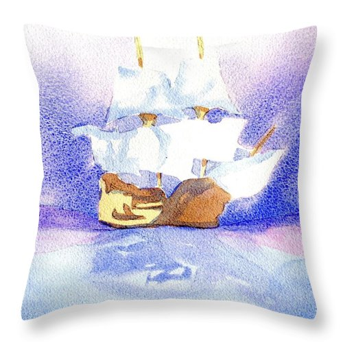 Mayflower Throw Pillow featuring the painting Mayflower II by Joseph Gallant