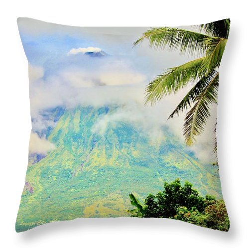 Nature Throw Pillow featuring the photograph Mayon Volcano by Lorna Maza