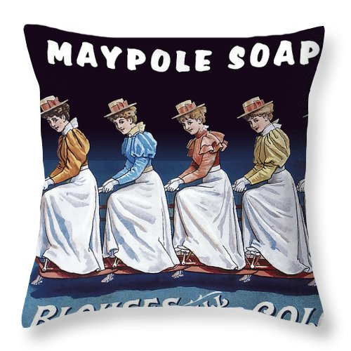 Soap Throw Pillow featuring the digital art Maypole Soap Retro Vintage Ad 1890's by Daniel Hagerman