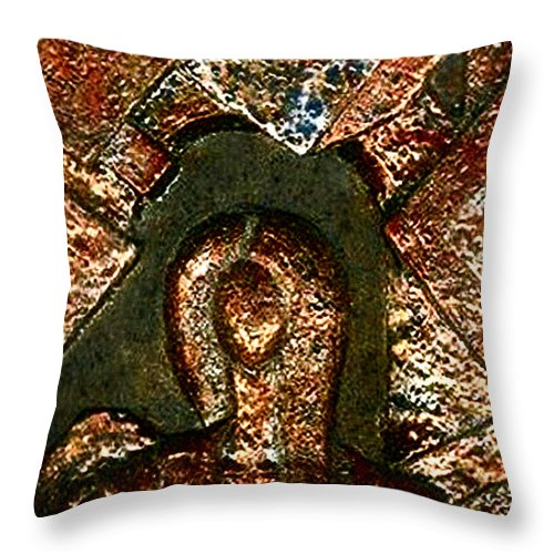 Ceramic Throw Pillow featuring the relief Maze Of Memories by Madalena Lobao-Tello