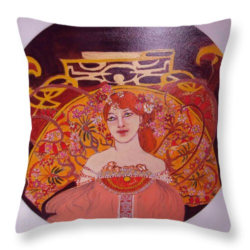 A|rt Nouveau Throw Pillow featuring the painting Mazurka by Rusty Gladdish