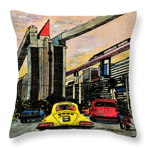 Miami Throw Pillow featuring the mixed media Mb2210 by Jorge Delara