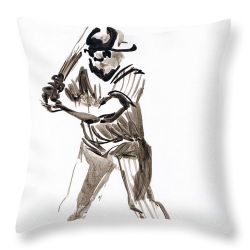 Mbl Batter Up Throw Pillow featuring the drawing Mbl Batter Up by Seth Weaver
