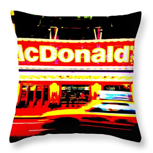 Broadway Throw Pillow featuring the photograph Mc Donalds On Broadway by Funkpix Photo Hunter