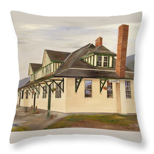 Train Station Throw Pillow featuring the painting Mcbride Station by Glen Frear