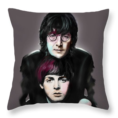 The Beatles Throw Pillow featuring the painting McCartney and Lennon by Melanie D