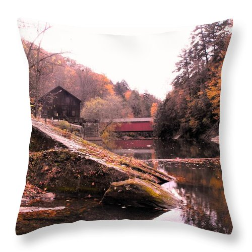 Bridge Throw Pillow featuring the photograph Mcconnell's Mill Bridge One by Spencer McKain