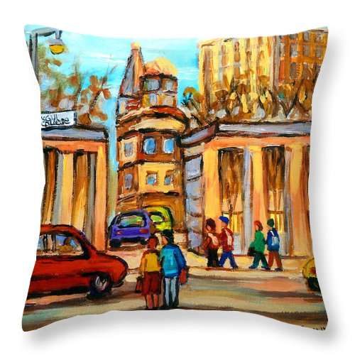Montreal Cityscapes Throw Pillow featuring the painting Mcgill Roddick Gates by Carole Spandau