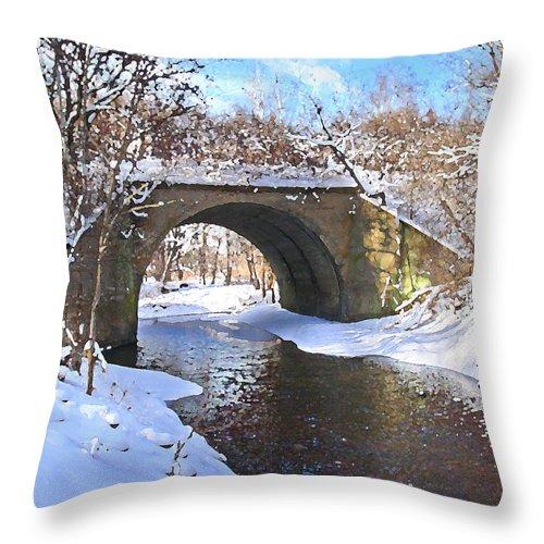 Landscape Throw Pillow featuring the digital art McGowan Bridge by Steve Karol