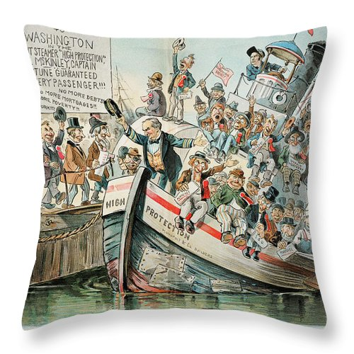 1896 Throw Pillow featuring the photograph Mckinley Cartoon, 1896 by Granger