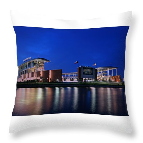 #baylornation Throw Pillow featuring the photograph Mclane Stadium Evening by Stephen Stookey