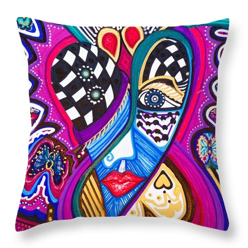 Heart Throw Pillow featuring the painting Me Looking For Love - Viii by Laurel Rosenberg
