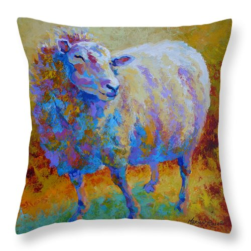 Llama Throw Pillow featuring the painting Me Me Me by Marion Rose