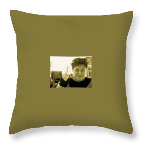 Throw Pillow featuring the pyrography me by Veronica Jackson