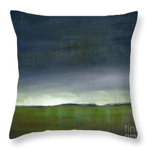 Landscape Throw Pillow featuring the painting Meadow At Sunset by Vesna Antic