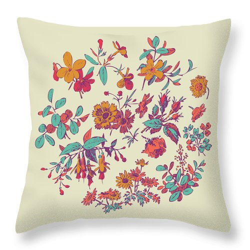 Floral Throw Pillow featuring the digital art Meadow Flower And Leaf Wreath Isolated On Beige, Circle Doodle F by Svetlana Corghencea