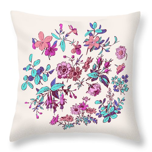 Floral Throw Pillow featuring the digital art Meadow Flower And Leaf Wreath Isolated On Pink, Circle Doodle Fl by Svetlana Corghencea