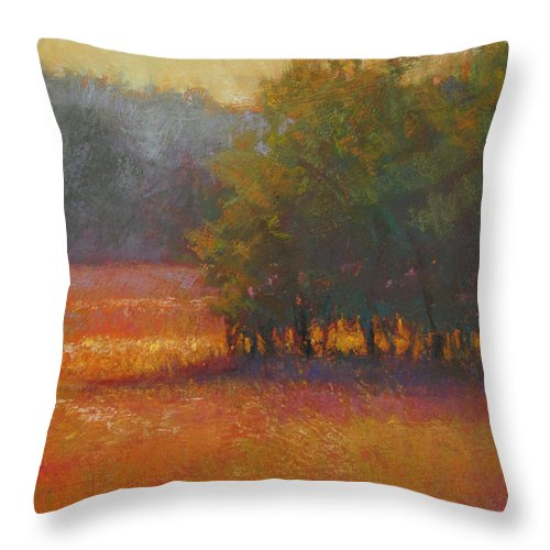 Landscapes Throw Pillow featuring the painting Meadow Glow by Susan Williamson