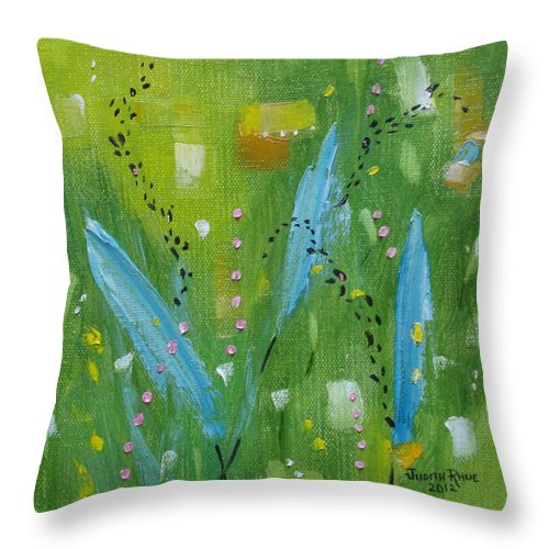 Abstract Throw Pillow featuring the painting Meadow Musing by Judith Rhue