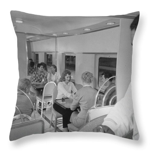 Passengers Throw Pillow featuring the photograph Passengers Mingle on Train - 1958 by Chicago and North Western Historical Society