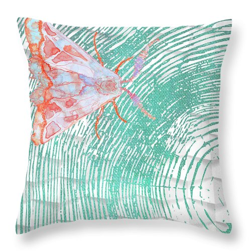Butterfly Throw Pillow featuring the painting Meandering Moth by Barbara Campbell