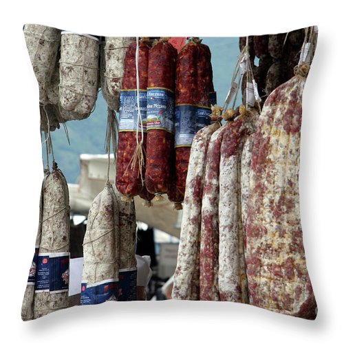Italy Throw Pillow featuring the photograph Meats And Sausages by Amos Dor