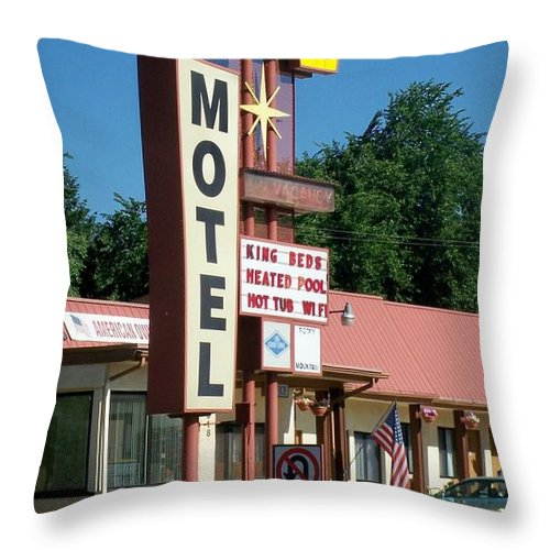 Vintage Motel Signs Throw Pillow featuring the photograph Mecca Motel by Anita Burgermeister