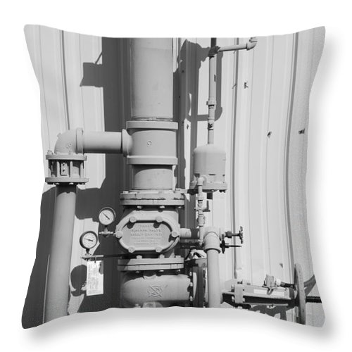 Black And White Throw Pillow featuring the photograph Mechanical Doo Dad by Rob Hans