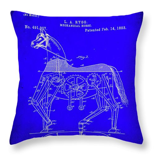 Patent Throw Pillow featuring the mixed media Mechanical Horse Patent Art 1b      by Brian Reaves