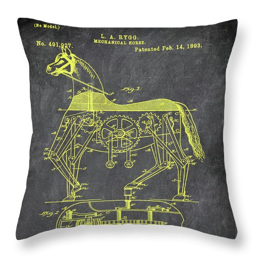 Patent Throw Pillow featuring the mixed media Mechanical Horse Patent Art 1i by Brian Reaves