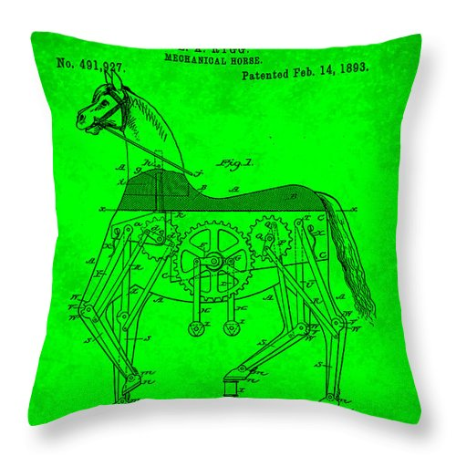 Patent Throw Pillow featuring the mixed media Mechanical Horse Patent Art 1l by Brian Reaves
