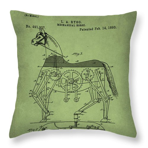 Patent Throw Pillow featuring the mixed media Mechanical Horse Patent Art by Brian Reaves