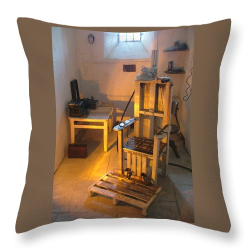 Halloween Throw Pillow featuring the photograph Medical Room by Heather Lennox