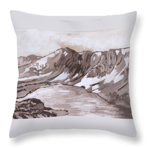Historical Throw Pillow featuring the painting Medicine Bow Peak Historical Vignette by Dawn Senior-Trask