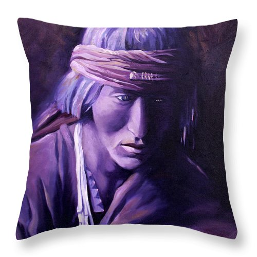 Native American Throw Pillow featuring the painting Medicine Man by Nancy Griswold
