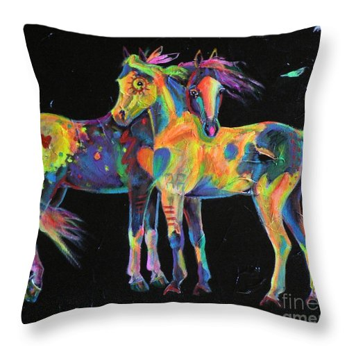 Appaloosa Paint Painted Pinto Ponies Rainbow Horse Equine Medicine Native American Throw Pillow featuring the painting Medicine Ponies by Louise Green