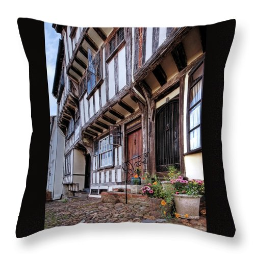 Thaxted Throw Pillow featuring the photograph Medieval British Architecture - Dick Turpin's Cottage Thaxted by Gill Billington