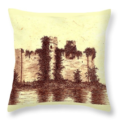 Castle Throw Pillow featuring the drawing Medieval Castle by Michael Vigliotti