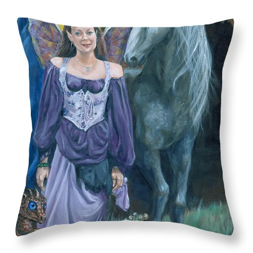 Fairy Faerie Unicorn Dragon Renaissance Festival Throw Pillow featuring the painting Medieval Fantasy by Bryan Bustard