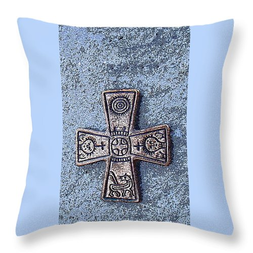 Cross Throw Pillow featuring the photograph Medieval Nordic Cross by Merja Waters