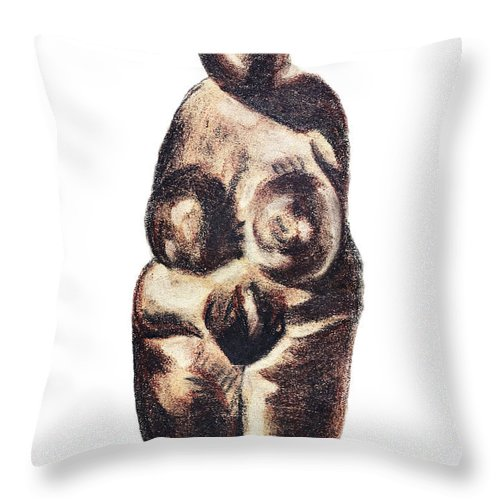 Art Throw Pillow featuring the drawing medieval Venus - fertility symbol by Michal Boubin