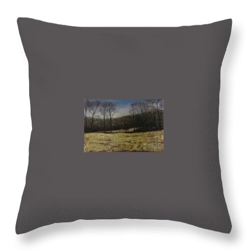 Landscape Throw Pillow featuring the pastel Medina Cornfield by Pat Snook